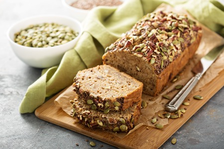 Healthy gluten free banana bread with seeds and nuts