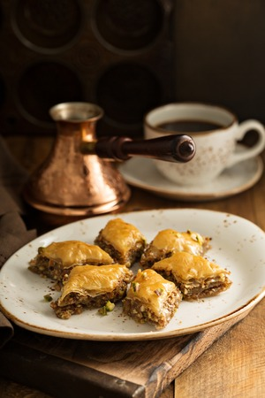 Homemade baklava with nuts and honey syrup Stok Fotoğraf