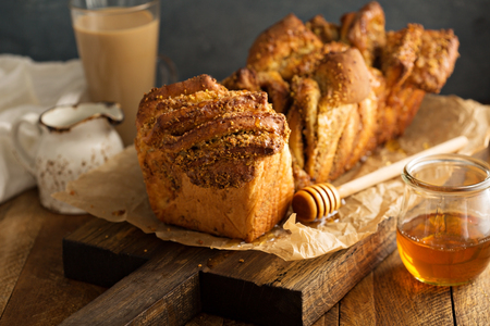 Homemade honey syrup and nuts pull-apart bread