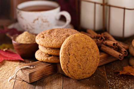 Seasonal cinnamon snickerdoodle cookies with tea in rustic setting Stock Photo