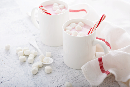 Peppermint hot chocolate with candy canes in a bright white setting