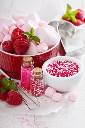 pastry cutters: Valentines day baking concept Stock Photo