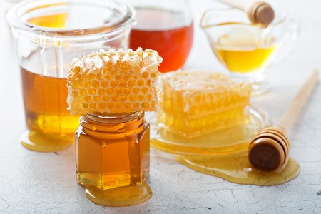 Various types of honey and honeycomb Reklamní fotografie