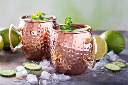 Cocktail de mule de Moscou à la citron vert et au concombre