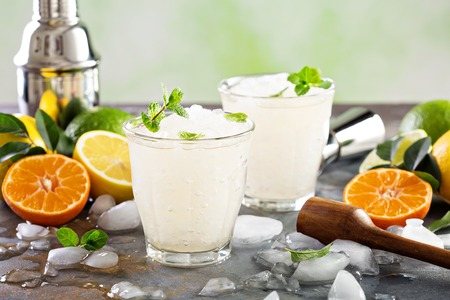 Refreshing summer cocktail with crushed ice