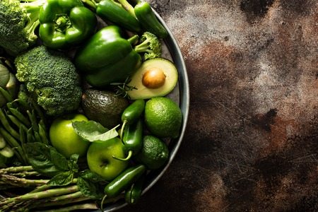 Variety of green vegetables and fruits