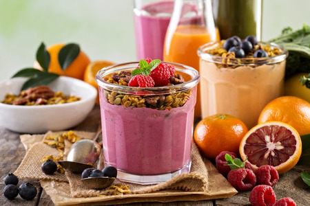 Healthy orange and raspberry smoothie