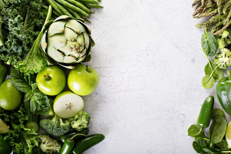 Variety of green vegetables and fruits copyspace on white Stok Fotoğraf