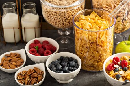 barra de cereal: Breakfast cereal bar or buffet wih variety of cereals, fruit and nuts