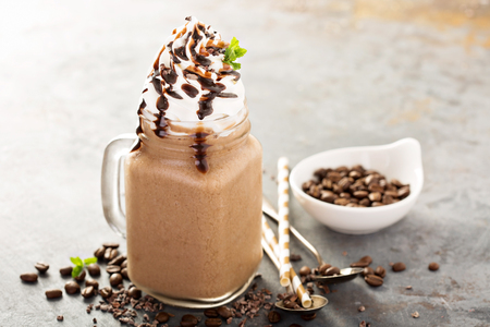 Chocolate frappe coffee with whipped cream