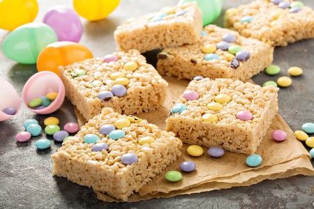Rice krispies treats with pastel colored candy for Easter Stock Photo