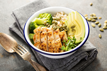Grain and grilled chicken bowl for lunch with pearl barley, avocado and broccoli Stok Fotoğraf