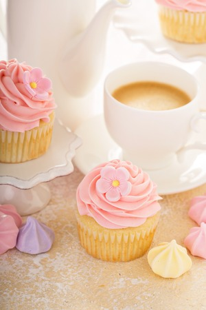 Vanilla cupcakes with pink raspberry frosting for a girl birthday or baby shower Stock Photo