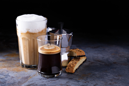 Coffee latte, black espresso and viennese coffee