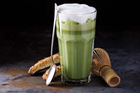 Matcha latte in tall glasses
