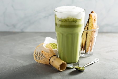 Matcha latte in tall glasses