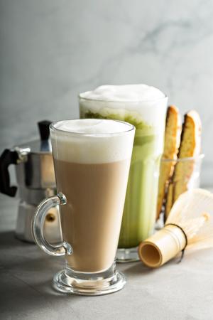 decaf: Regular coffee and matcha latte Stock Photo