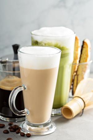 cappuccino foam: Espresso, regular coffee and matcha latte Stock Photo