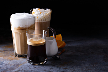 Coffee latte, black espresso and viennese coffee