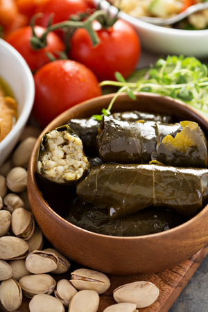 Dolmades, Stuffed Grape Leaves with rice