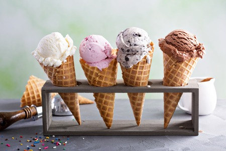 Variety of ice cream cones Stock Photo