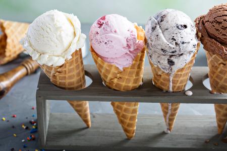 Variety of ice cream cones Foto de archivo