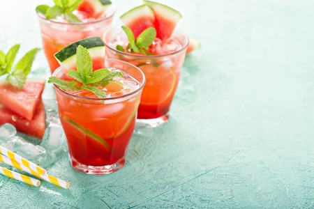 Refreshing summer drink with watermelon and lime