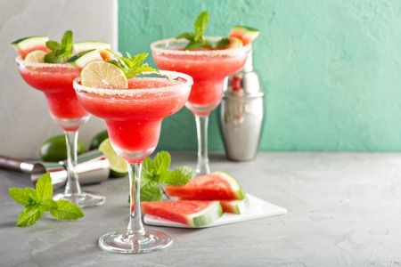 Refreshing summer watermelon margaritas with lime