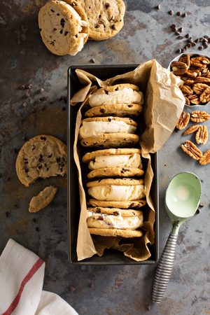 chunky: Ice cream sandwiches with chocolate chip cookies Stock Photo