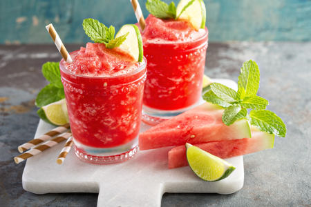 Watermelon slushie cocktail with lime Stock Photo