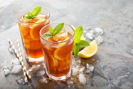 Traditional iced tea with lemon Stock Photo