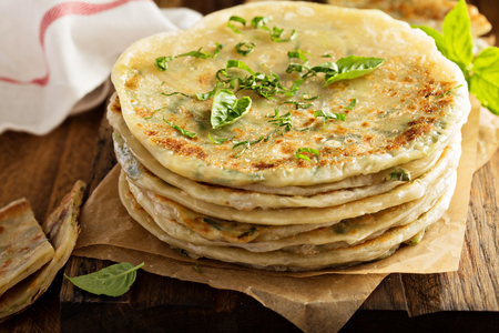 Fried green onion pancakes