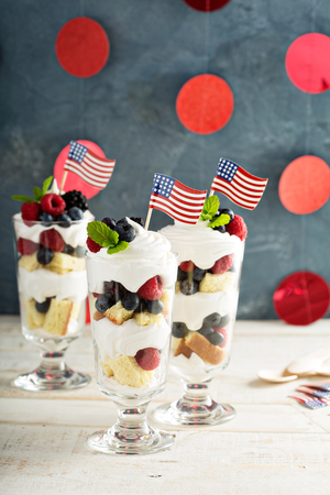 trifle: Layered dessert parfait with sweet bread and berries