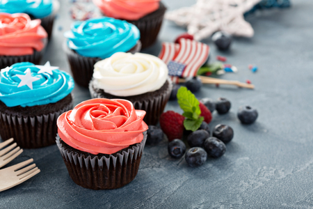 Red, blue and white cupcakes for the Fourth of July