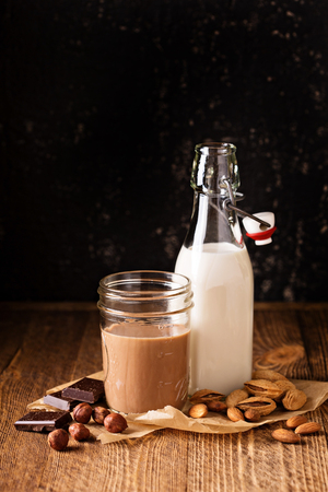 Homemade almond and hazelnut nut milk, regular and with cocoa