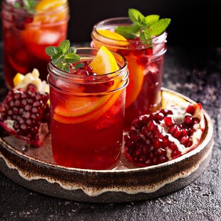 Pomegranate sangria with oranges