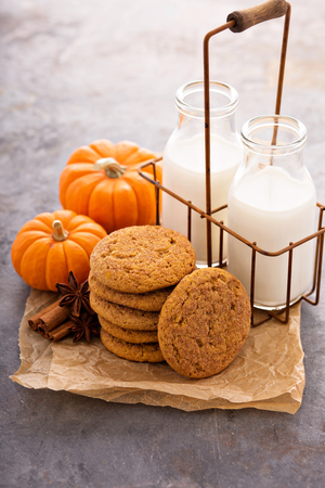 Fall cookies with milk