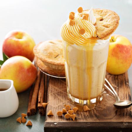 Apple pie milkshake with caramel syrup Stock Photo