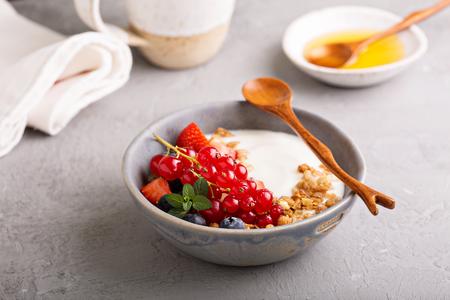 Yogurt bowl with granola and fresh berries
