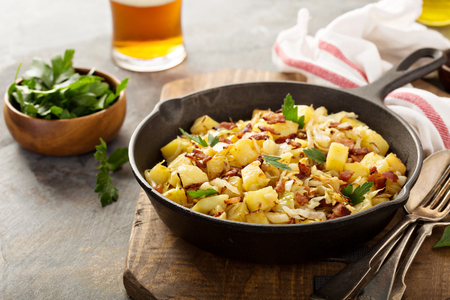 Fall side dish with fried cabbage, potatoes and bacon