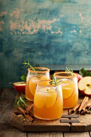 하드 사과 사과 쥬 스가 향신료와 칵테일 스톡 콘텐츠