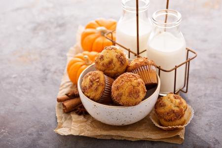 ミルクと秋のマフィン 写真素材