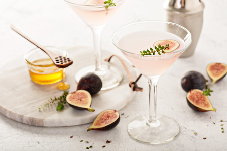 Pink fig and honey martini Stock Photo