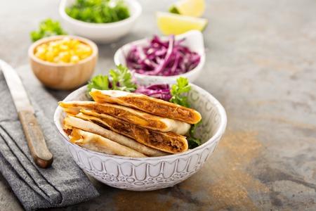 Pulled pork quesadillas Stock Photo