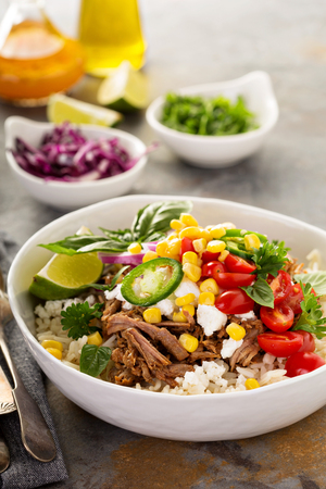 Dinner bowl with rice and pulled pork