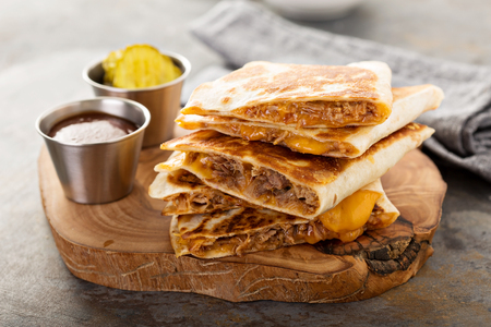 Pulled pork quesadillas Stock Photo