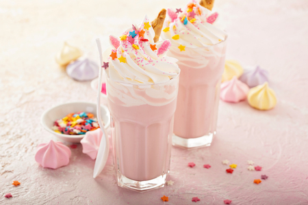 Unicorn milkshakes with sprinkles Stock fotó