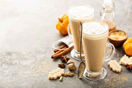 Pumpkin spice latte in tall mugs Stock Photo
