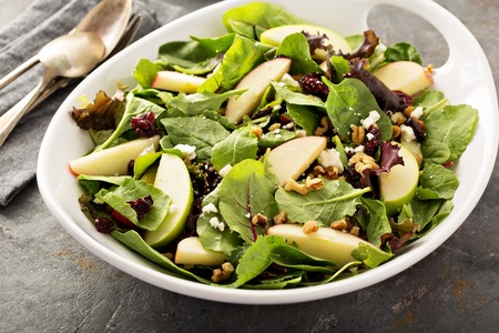 Fall salad with spring mix, apple and cranberry