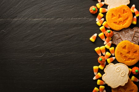 Halloween pumpkin cookies and candy 写真素材